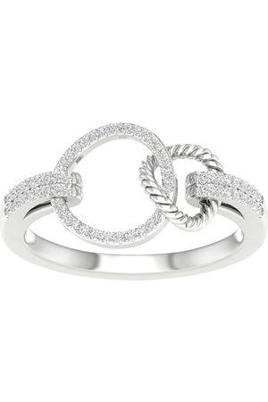 Goldsmiths Women Dresses - 9ct White Gold 0.15cttw Diamond Round Link Dress Ring