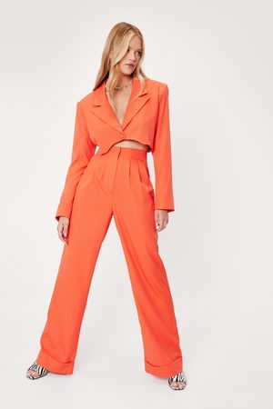 NASTY GAL Women Wide Leg Trousers - Womens High Waisted Tailored Wide Leg trousers