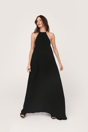 NASTY GAL Women Beach Dresses - Womens Crinkle Ruched Maxi Beach Cover Up Dress