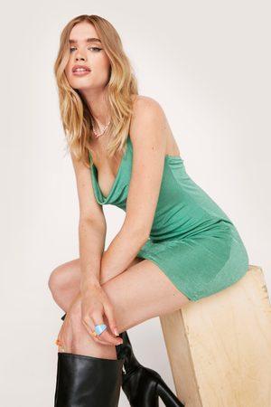 NASTY GAL Womens Halter Neck Slinky Bodycon Dress