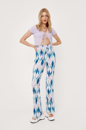 NASTY GAL Women Wide Leg Trousers - Womens Turquoise Abstract Print Flare
