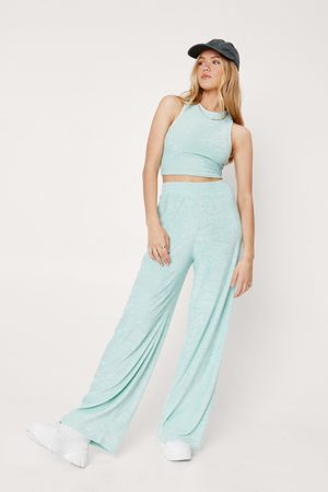 NASTY GAL Womens Towelling Racer Neck And Wide Leg Trouser Set