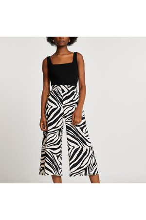 River Island Women Trousers - Womens shirred waist zebra print culottes