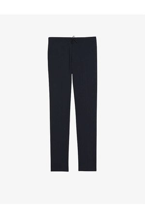 Sandro Men Formal Trousers - Alpha wool-flannel tapered-leg trousers