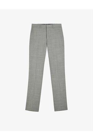 Ted Baker Corcats crosshatch-patterned slim-fit wool-blend trousers