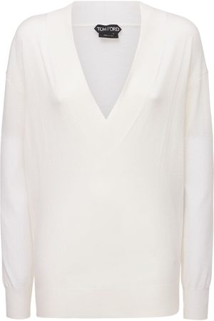TOM FORD Women Jumpers - Cashmere & Silk Knit V Neck Sweater