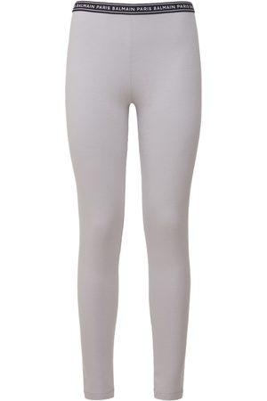 BALMAIN Women Leggings - Logo Stretch Cotton Jersey Leggings