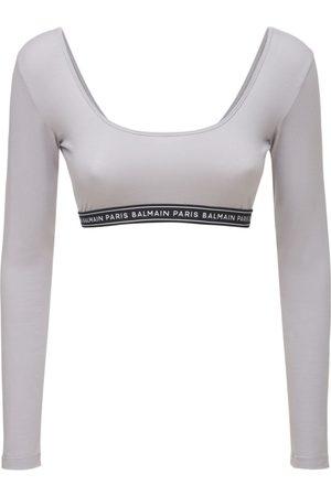 BALMAIN Logo Stretch Cotton Jersey Cropped Top