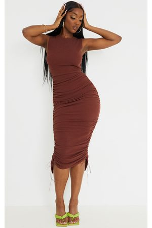 PRETTYLITTLETHING Chocolate Ribbed Sleeveless Ruched Midaxi Dress