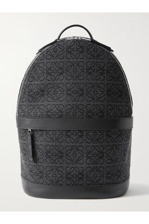 Loewe Leather-Trimmed Logo-Jacquard Canvas Backpack