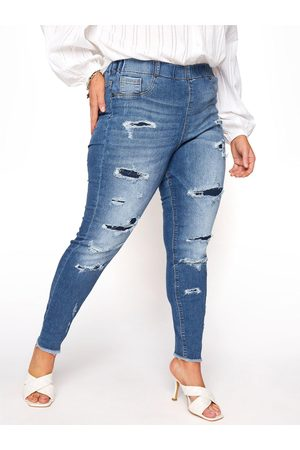"""Yours Clothing Jenny 28"""" Rip And Repair Jegging Indigo"""