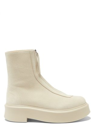 The Row Zip-front Leather Ankle Boots - Womens