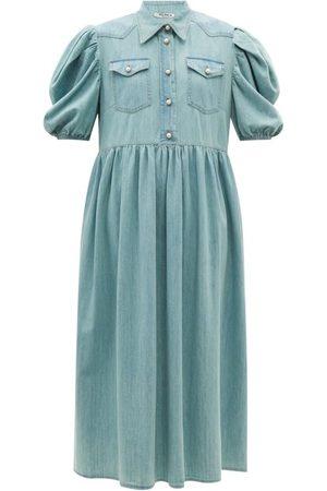 Miu Miu Puff-sleeve Cotton-chambray Shirt Dress - Womens
