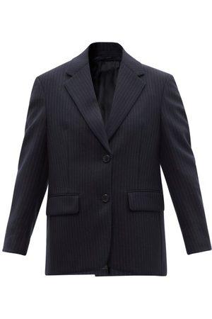 Prada Intarsia-logo Pinstriped Wool Suit Jacket - Womens - Navy
