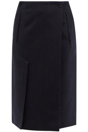 Prada Asymmetric Pinstriped Wool Suit Skirt - Womens - Navy