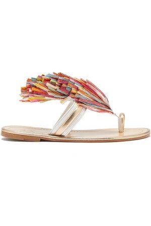 Christian Louboutin Festividade Tasselled Leather Sandals - Womens - Multi