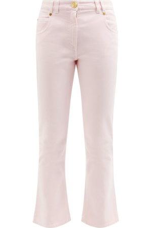 Balmain Women Wide Leg Trousers - Low-rise Cropped Kick-flare Jeans - Womens