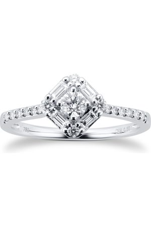 GOLDSMITHS 18ct White Gold 0.50cttw Diamond Square Cluster Ring - Ring Size I