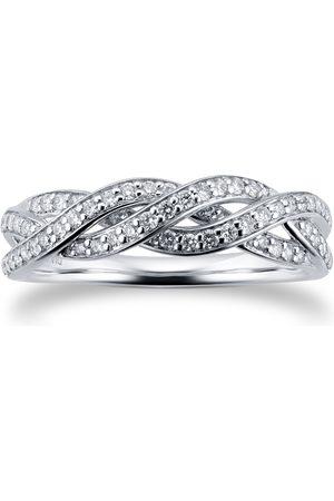 Goldsmiths Women Rings - 9ct White Gold 0.30cttw Twist Style Diamond Eternity Ring - Ring Size I