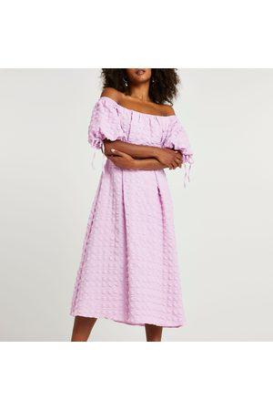 River Island Womens textured bardot midi dress