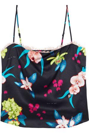 FLEUR DU MAL Women Singlets - Woman Lace-trimmed Striped Silk-charmeuse Camisole Size L