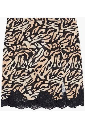 FLEUR DU MAL Woman James Lace-trimmed Tiger-print Silk-blend Crepe Mini Skirt Animal Print Size L