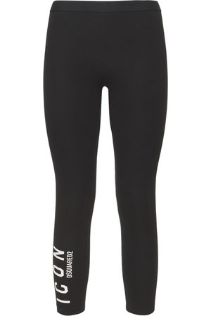 Dsquared2 Women Trousers - Icon Printed Stretch Cotton Leggings