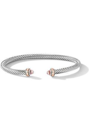 David Yurman Sterling and 18kt rose gold 4mm Cable morganite bracelet