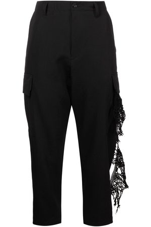 Y'S Lace-trim cropped leg trousers