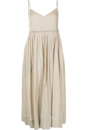 Three Graces London Pleated cotton midi-dress
