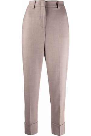 PESERICO SIGN Women Trousers - High-waisted cropped virgin wool trousers