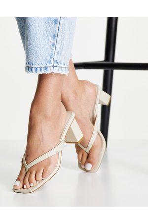 Forever New Marianna slip on block mid heel in bone