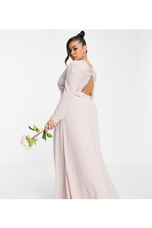 TFNC Plus Women Maxi Dresses - Bridesmaid wrap front maxi dress with back detail in mink