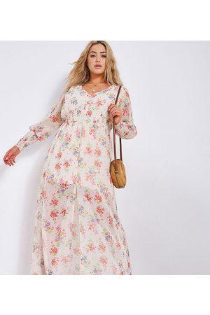 Simply Be Button through maxi dress in cream floral print-Multi