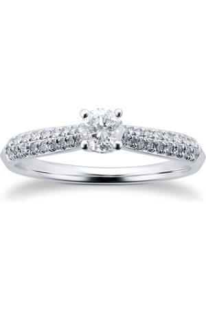 Goldsmiths Women Rings - 9ct White Gold 0.50ct Diamond Solitare with Diamond Pave shoulders - Ring Size J
