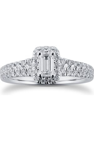GOLDSMITHS Women Rings - 18ct White Gold 0.75cttw Diamond Double Row Emerald Halo Ring - Ring Size I