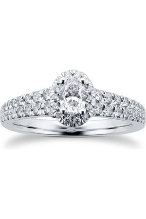 GOLDSMITHS Women Rings - 18ct White Gold 0.75cttw Diamond Double Row Oval Halo Ring - Ring Size I