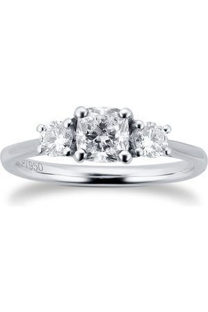 Goldsmiths Platinum 1cttw Cushion & Round Cut Diamond 3 Stone Ring - Ring Size J