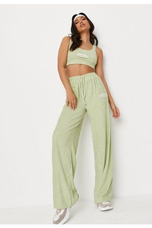 Missguided Women Bootcut - Mint Happiness Towelling Wide Leg Joggers, Mint