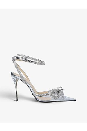 Mach & Mach Double Bow crystal-embellished PVC heeled sandals