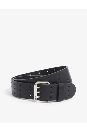 Diesel B-Mili logo-embellished cutout-leather belt