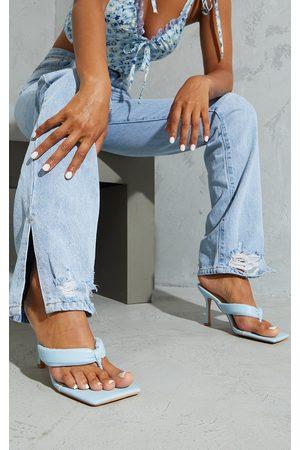 PRETTYLITTLETHING Pastel Pu Tube Toe Thong Mid Heels