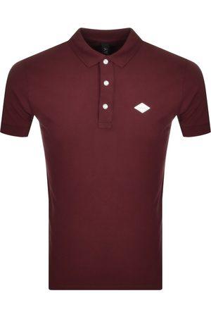 Replay Short Sleeved Logo Polo T Shirt Burgundy