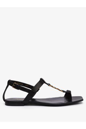Saint Laurent Women Sandals - Cassandra Ysl-plaque Leather Sandals - Womens