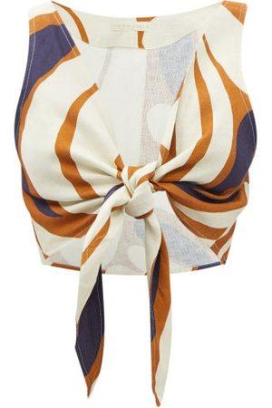 Cala De La Cruz Lola Tie-front Leaf-print Linen Cropped Top - Womens - Multi