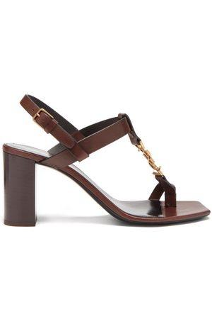 Saint Laurent Cassandra Ysl-plaque Leather Sandals - Womens - Dark