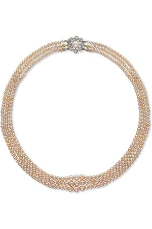Pragnell Vintage Women Necklaces - 18kt white gold Victorian saltwater three row pearl and diamond clasp necklace