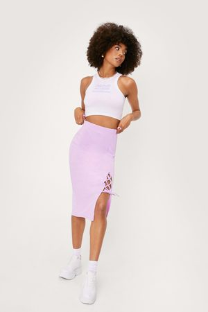 NASTY GAL Womens Recycled Lace Up Tie Front Midi Skirt