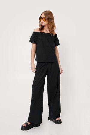 NASTY GAL Womens Linen Look Wide Leg trousers