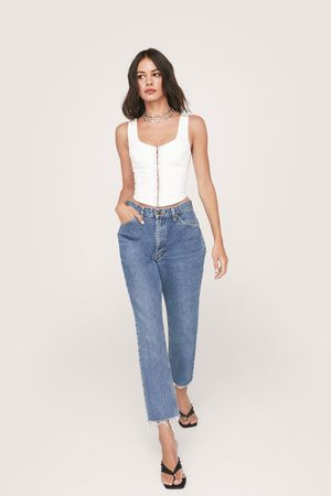 Nasty Gal Women High Waisted - Womens Vintage High Waisted Tapered Cropped Jeans
